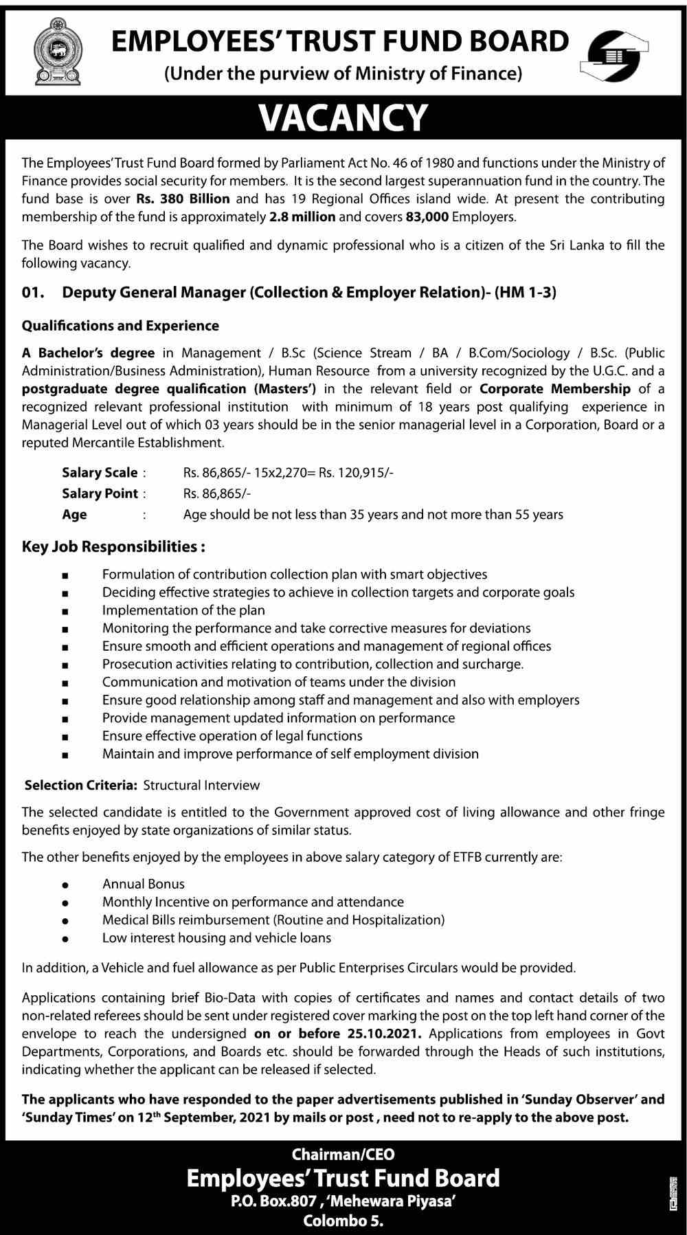 Deputy General Manager Job Vacancy in Employees' Trust Fund Board English