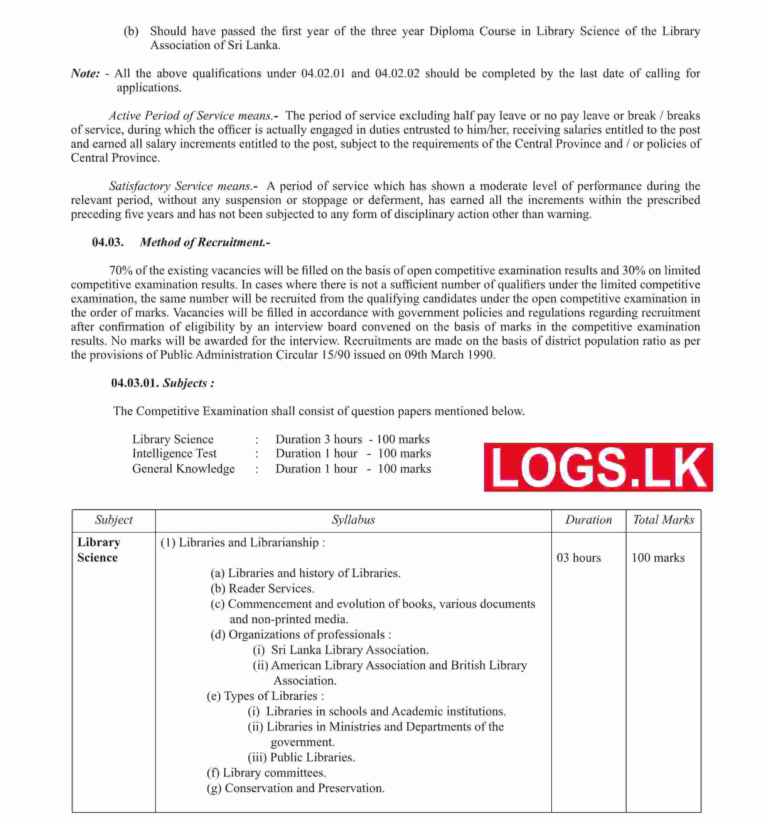 Central Province Library Service Exam Gazette 2021 English Details