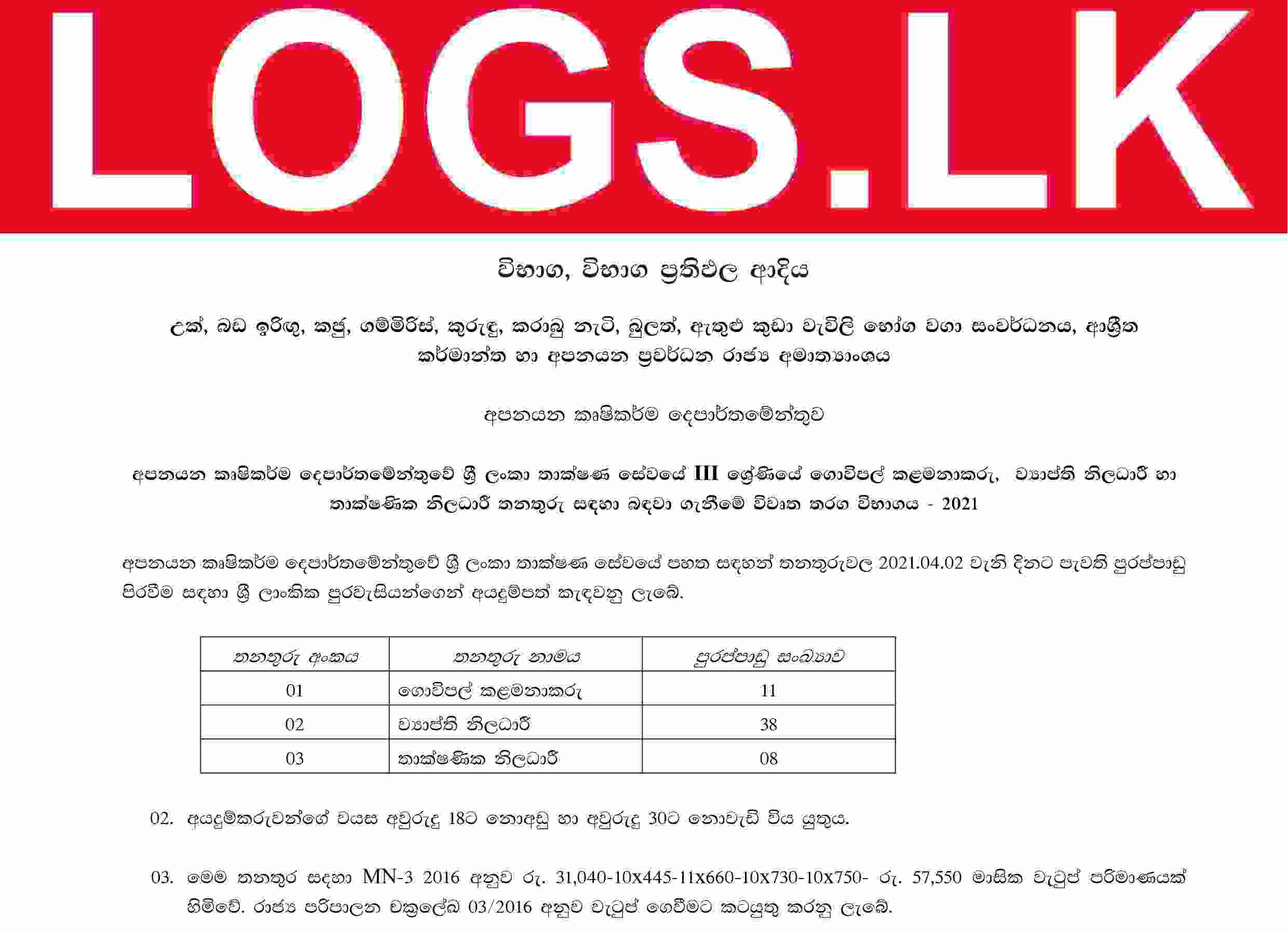 Farm Manager, Extension Officer, Technological Officer - Department of Export Agriculture Sinhala