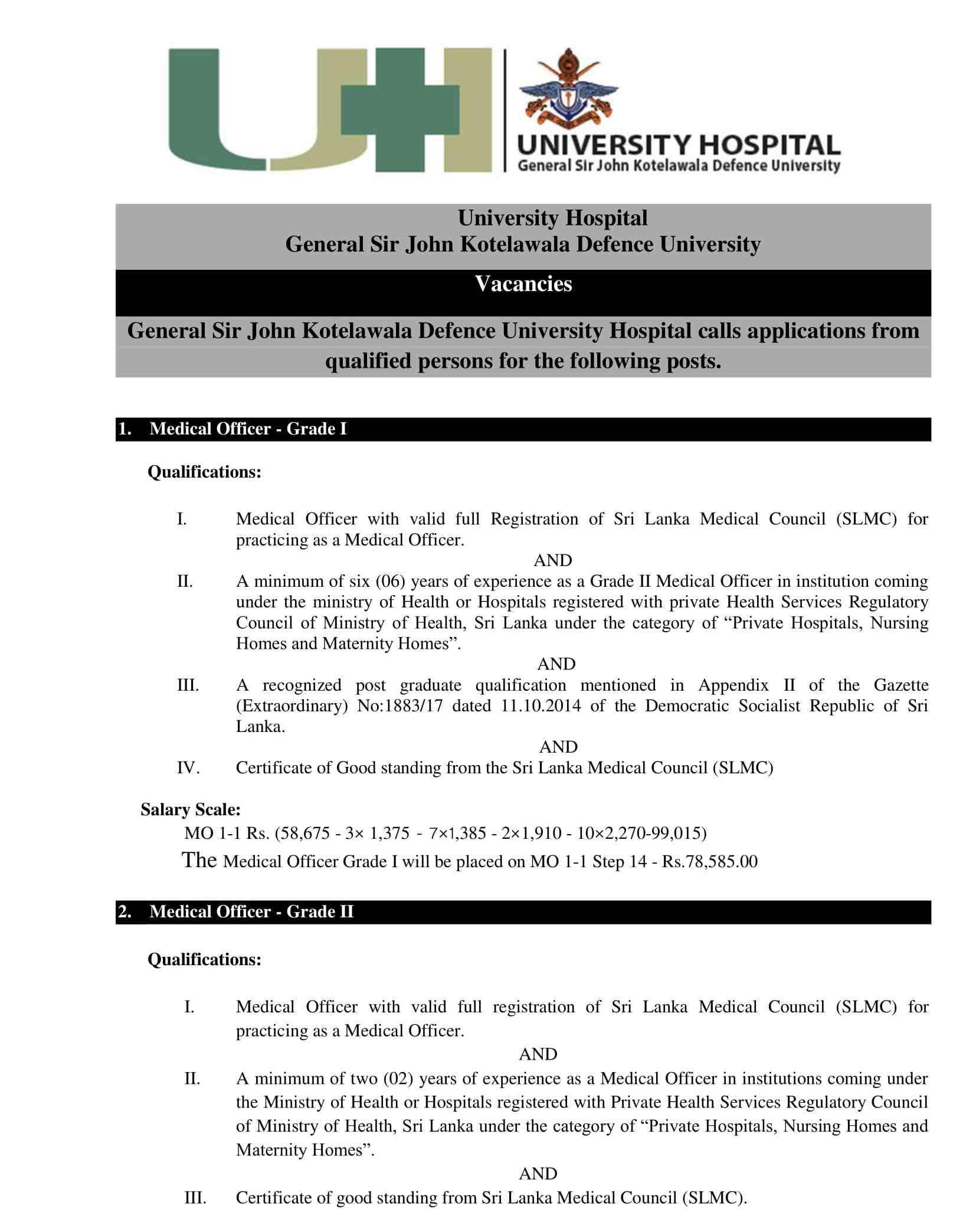 General Sir John Kotelawala Defence University Hospital Jobs Vacancies English
