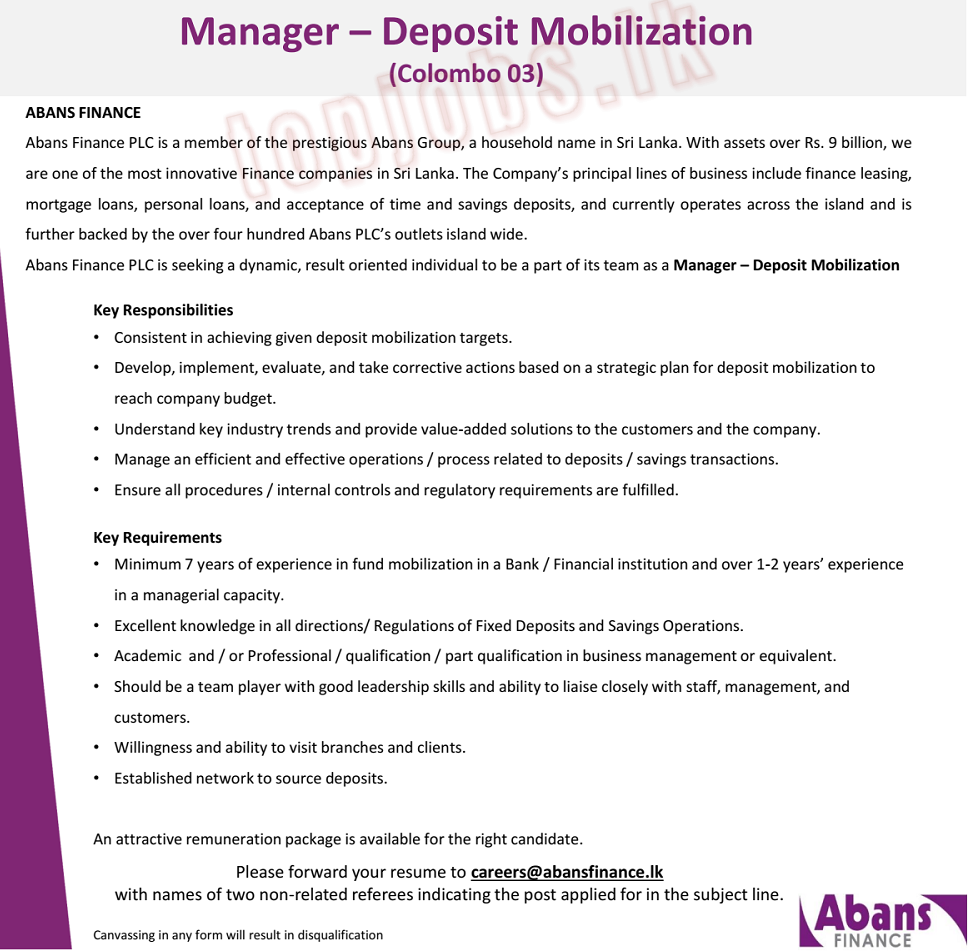 Manager Jobs Vacancy in Abans Finance PLC