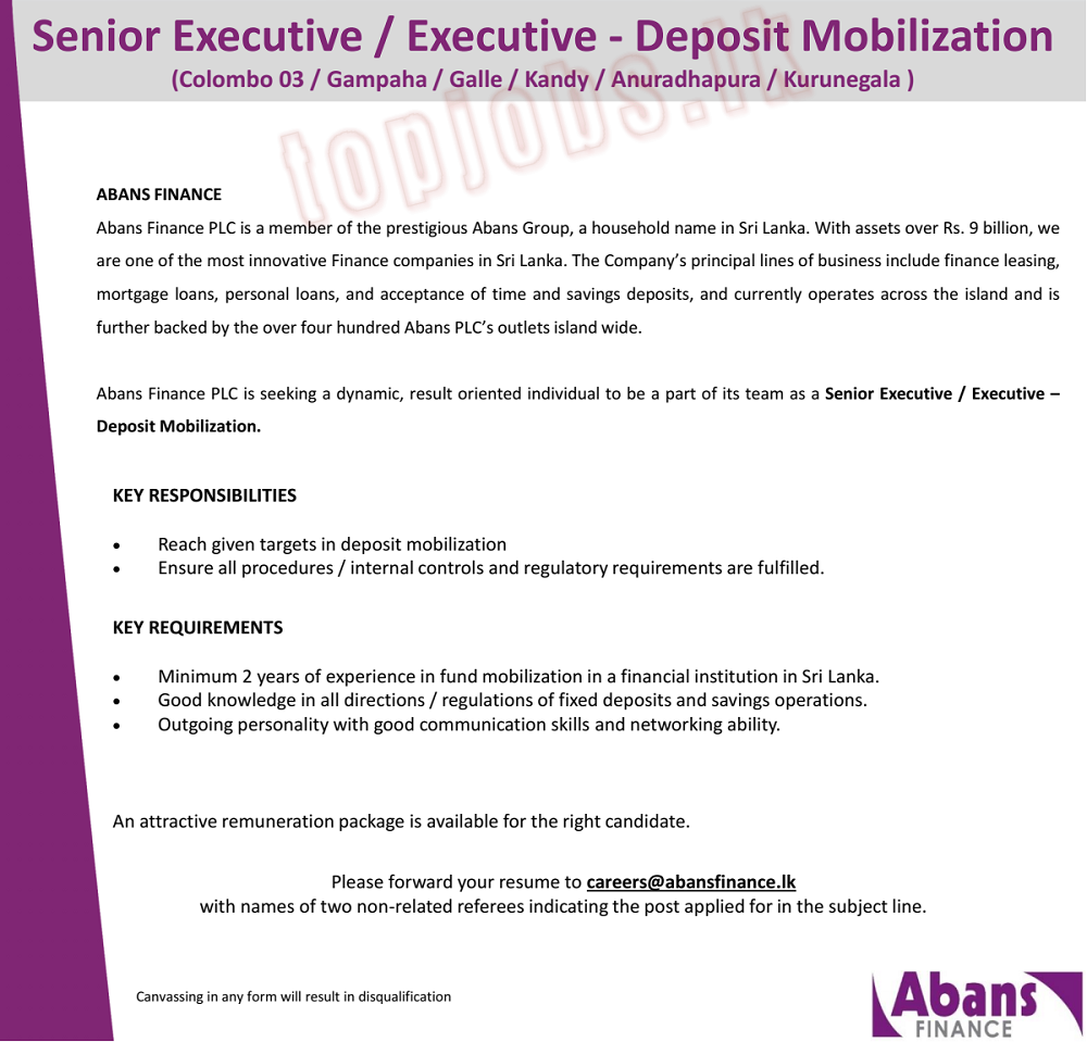 Senior Executive / Executive Jobs in Abans Finance PLC